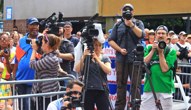 Sure a lot of cameras on hand for a candidate that usually gets minimal coverage