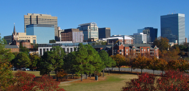 """Fall skyline of Columbia SC from Arsenal Hill"" by Akhenaton06"